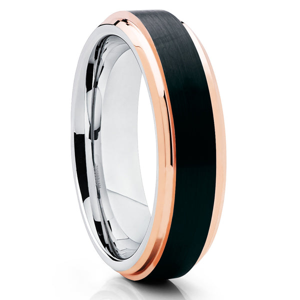 6mm - Black Tungsten Wedding Band - Rose Gold Tungsten - Beveled Edges