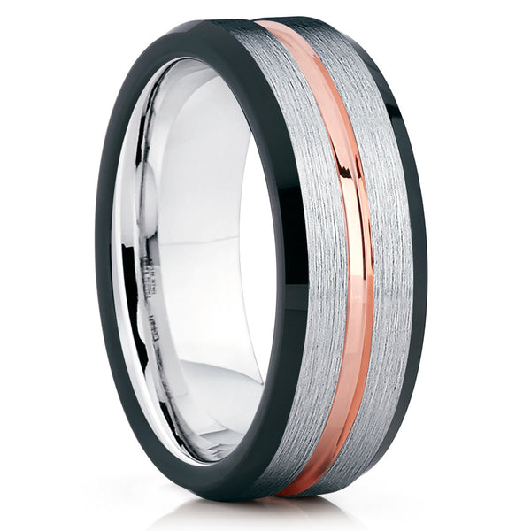 Black Tungsten Wedding Band - Rose Gold Tungsten Ring - Tungsten Carbide - Clean Casting Jewelry