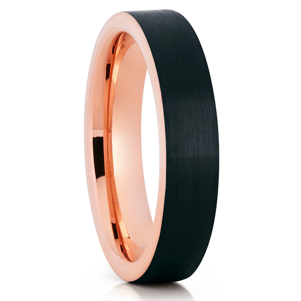 5mm - Rose Gold Tungsten Wedding Band - Black - Brushed - Rose Gold Ring - Clean Casting Jewelry