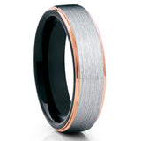 Silver Brushed Tungsten Ring,Rose Gold Edges,Tungsten Wedding Band,6mm Ring