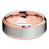Rose Gold Tungsten Wedding Band - Silver Brush - Rose Gold Tungsten Ring - Clean Casting Jewelry