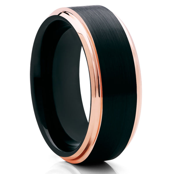 Black Tungsten Wedding Band - Rose Gold Tungsten - Black Brush - Beveled - Clean Casting Jewelry