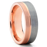 Men's Tungsten Wedding Band - Rose Gold Tungsten - Gray Tungsten Ring - Clean Casting Jewelry