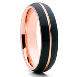Black Tungsten Wedding Band - 6mm -  Rose Gold Tungsten Ring - Brush - Clean Casting Jewelry