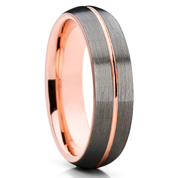 6mm - Gray Tungsten Ring - Rose Gold Tungsten - Wedding Band - Brush - Clean Casting Jewelry