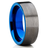 Blue Tungsten Wedding Band - Gunmetal Ring - Gray Tungsten - Brush - Clean Casting Jewelry