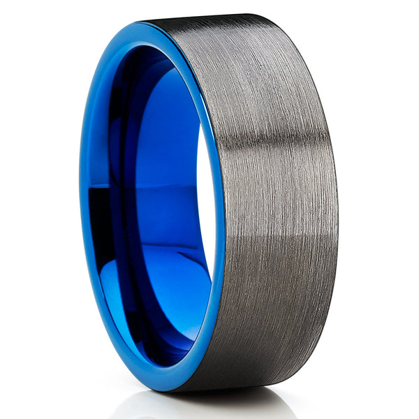 Blue Tungsten Wedding Band - Gunmetal Ring - Tungsten Wedding Ring Unique