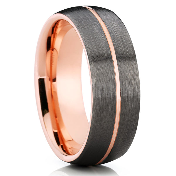 Rose Gold Tungsten - Brushed - Gunmetal Tungsten Band - Rose Gold Band - Clean Casting Jewelry