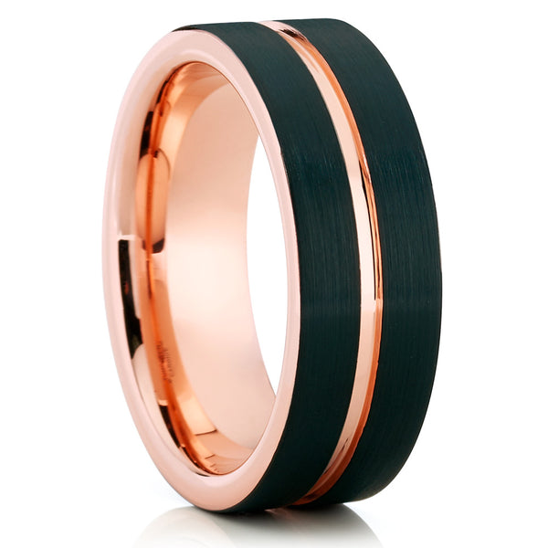 Black Tungsten Wedding Band - 8mm - Rose Gold Tungsten Ring - Brush - Clean Casting Jewelry