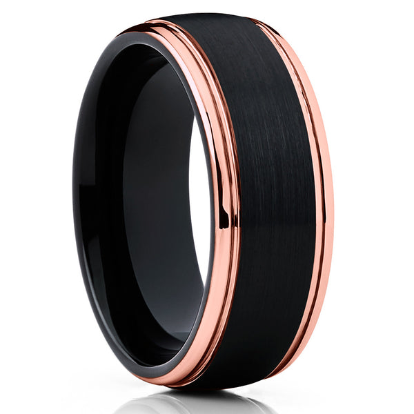 Black Tungsten Wedding Band - Men's - Black Tungsten Wedding Ring - Brush - Clean Casting Jewelry