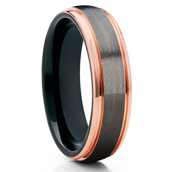 Gray Tungsten Wedding Band - Rose Gold - Gunmetal Ring - Black Tungsten - Clean Casting Jewelry