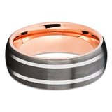 Gray Tungsten Wedding Band - Rose Gold Tungsten Ring - Gunmetal Ring - Clean Casting Jewelry