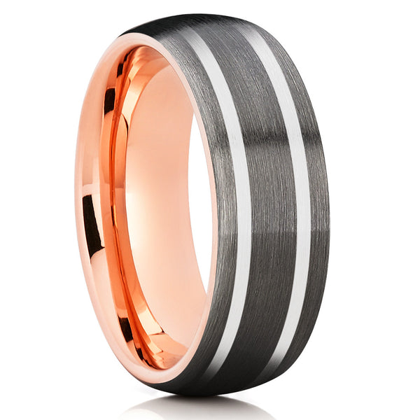 Dome Gray Brushed Tungsten Ring Rose Gold Comfort Fit
