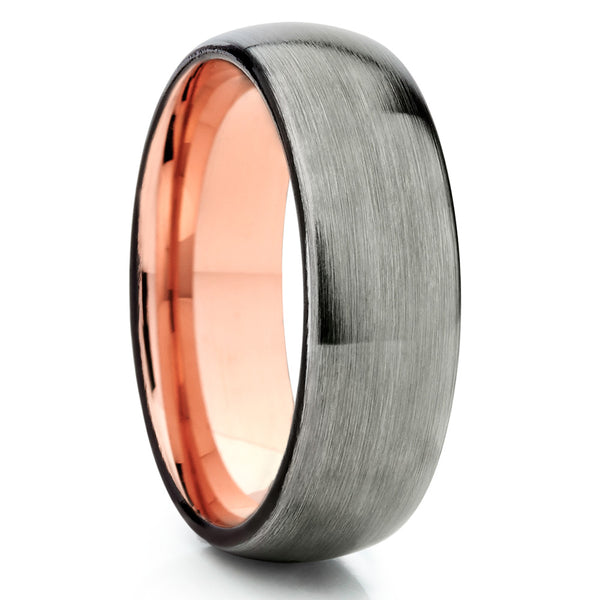 Rose Gold Tungsten - Gunmetal Ring - Tungsten Wedding Band - Rose Gold - Clean Casting Jewelry
