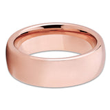 7mm - Rose Gold Tungsten Wedding Band - Shiny - Rose Gold Tungsten Ring