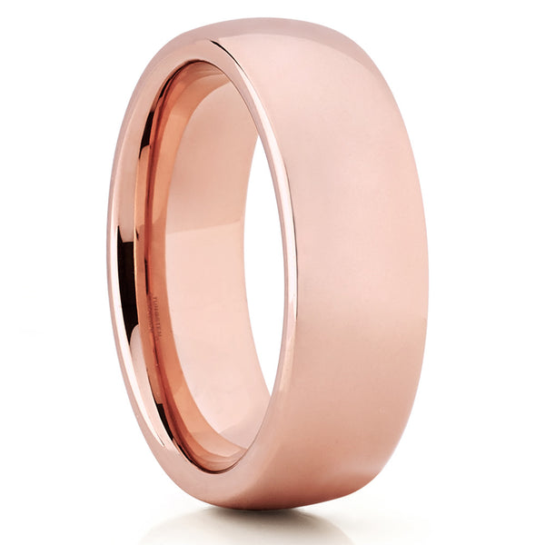 7mm,Rose Gold Tungsten Ring,Tungsten Wedding Band,Shiy Polish,Handmade,Dome