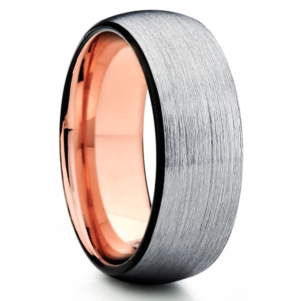 Rose Gold Tungsten - Tungsten Wedding Band - Black Tungsten Ring - Brush - Clean Casting Jewelry
