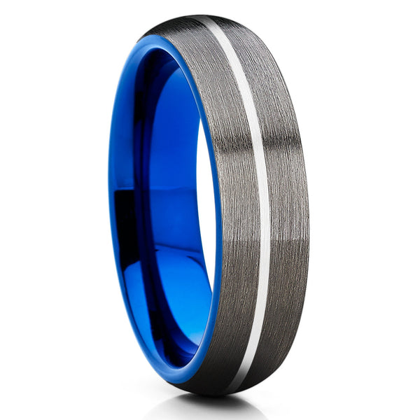 6mm - Blue Tungsten Wedding Band - Gray Tungsten Ring - Gunmetal