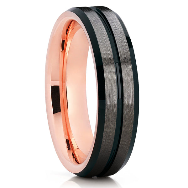 Rose Gold Tungsten Wedding Band - Black Ring - Rose Gold Tungsten - Unique - Clean Casting Jewelry