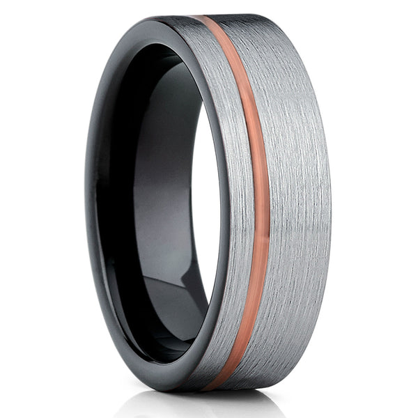 Grey Tungsten Ring,Rose Gold Tungsten Ring,Tungsten Wedding Bands,Rose Gold Ring