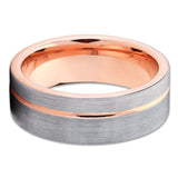 8mm Rose Gold Tungsten Wedding Band - Offset Groove - Rose Gold Tungsten - Clean Casting Jewelry