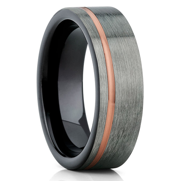Rose Gold Tungsten Wedding Band,Gray Rose Gold Ring,Tungsten Ring,Black
