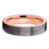 Gray Tungsten Wedding Band - Rose Gold Tungsten - Brush - Gray Ring - Clean Casting Jewelry
