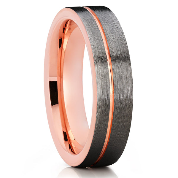 Rose Gold Tungsten Wedding Band - Gray Tungsten Ring - Brush Ring - Clean Casting Jewelry