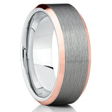 Gray Tungsten Brushed,Rose Gold Edges,Tungsten,Comfort Fit