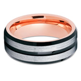 Black Tungsten Ring,Men's Tungsten Band,Rose Gold Tungsten,Tungsten Wedding Band