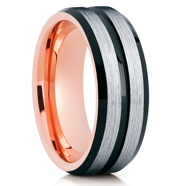 Rose Gold Tungsten Ring - Tungsten Wedding Band - Black Tungsten Ring - Clean Casting Jewelry