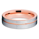 Rose Gold Tungsten Ring - Tungsten Carbide Ring - Silver Brush - Unique - Clean Casting Jewelry