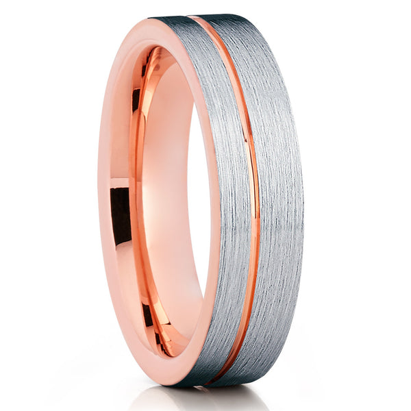 6mm,Rose Gold Tungsten,Brushed Tungsten Ring,Tungsten Wedding Band,Grooved