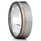Gray Tungsten Ring,Tungsten Wedding Band,Rose Gold Tungsten, Men & Women,Brushed