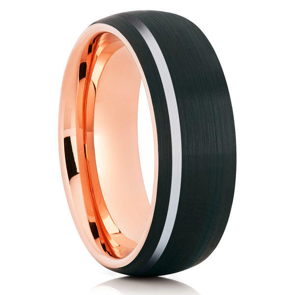 Offset Stripe Rose Gold Tungsten Brushed Finish Comfort Fit Black Tungsten