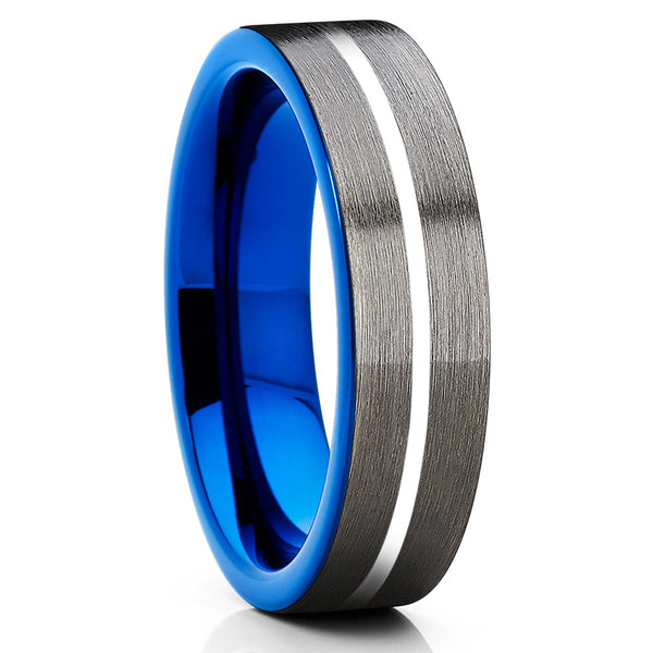6mm - Blue Tungsten Wedding Band - Gray Tungsten Ring - Black Tungsten