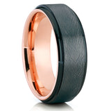 Black Tungsten Wedding Band - Black Tungsten Ring - Men's Ring - Rose - Clean Casting Jewelry