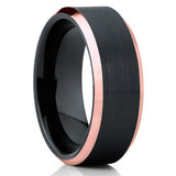 Black Tungsten Wedding Band - Black Tungsten Ring - Brushed - Rose Gold - Clean Casting Jewelry