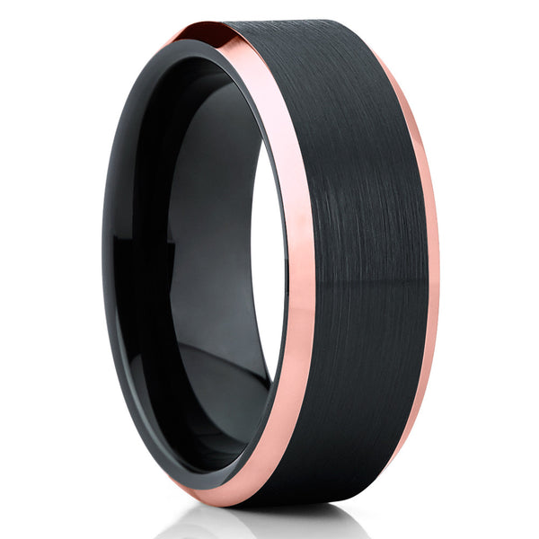 Rose Gold Tungsten Wedding Band - Rose Gold Ring - Black Tungsten Ring - Clean Casting Jewelry