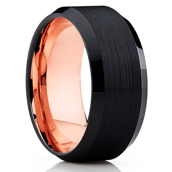 Rose Gold Tungsten Wedding Band - Black Ring - Tungsten Wedding Band - Clean Casting Jewelry