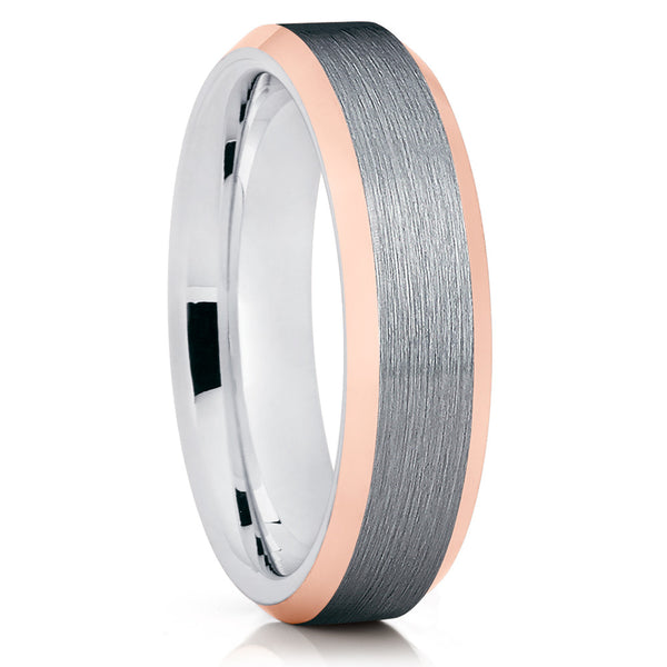 Gray Tungsten Ring,Rose Gold Tungsten Band,Tungsten Wedding Band,Brushed Ring