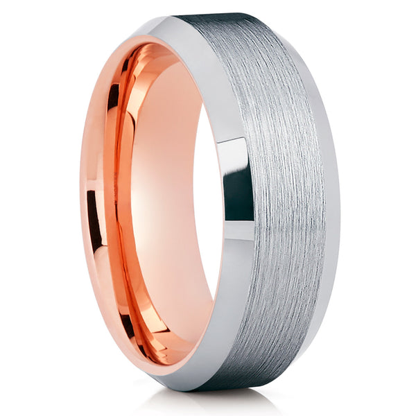 Rose Gold Tungsten Band - Silver Brush - Rose Gold Tungsten Ring - Beveled - Clean Casting Jewelry