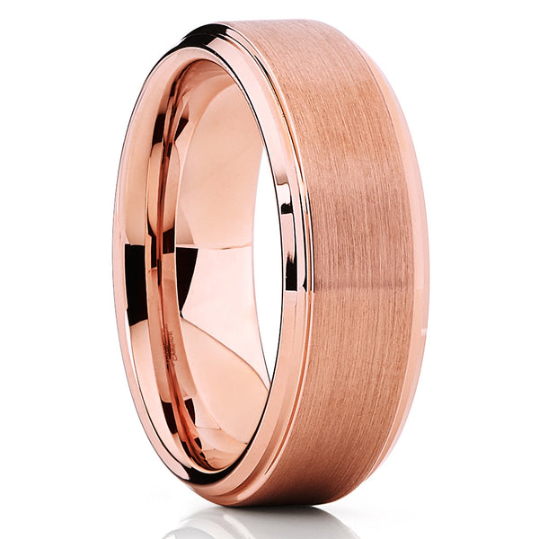 New,Rose Gold Tungsten,Tungsten Carbide,Tungsten Band,Beveled Edges,Brushed