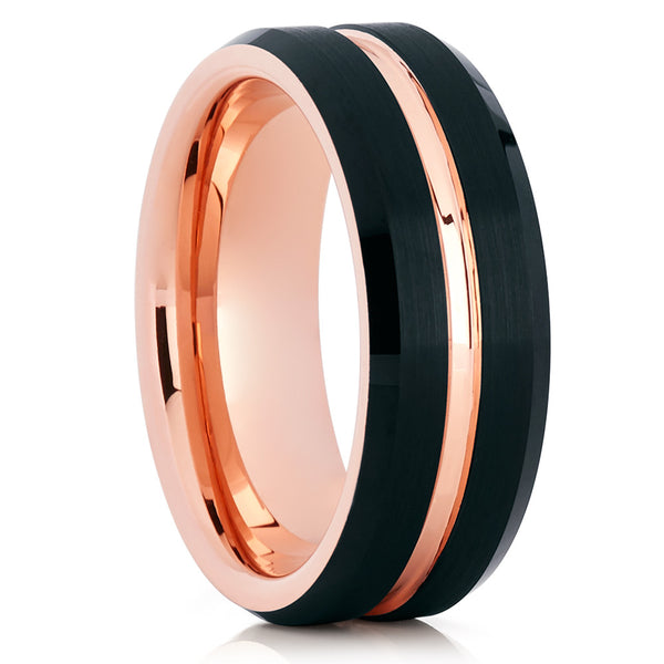 8mm & 6mm,Rose Gold Black Tungsten Ring,Rose Gold Tungsten Band,Rose Gold Ring