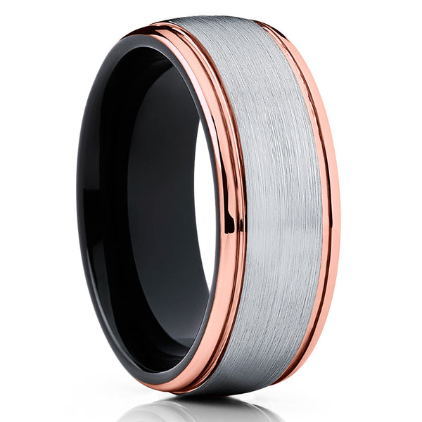 Rose Gold Tungsten Wedding Band - Grey - Rose Gold Tungsten Ring - Unique - Clean Casting Jewelry