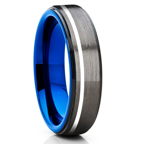 6mm,Blue Brushed Tungsten Ring,Tungsten Carbide,Blue Tungsten Ring,Gunmetal Ring