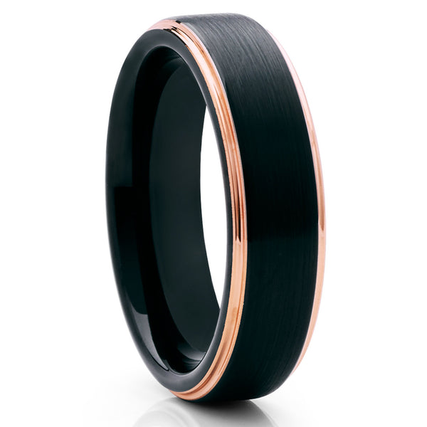 6mm,Rose Gold Tungsten Ring,Black Brushed Tungsten,Unique Tungsten Ring