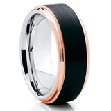 Black Tungsten Wedding Band - Rose Gold Edges - Black Tungsten Ring