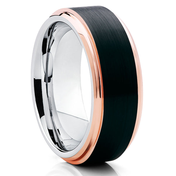 Brushed,Rose Gold Tungsten Ring,Tungsten Wedding Ring,Rose Gold Edges,8mm & 6mm