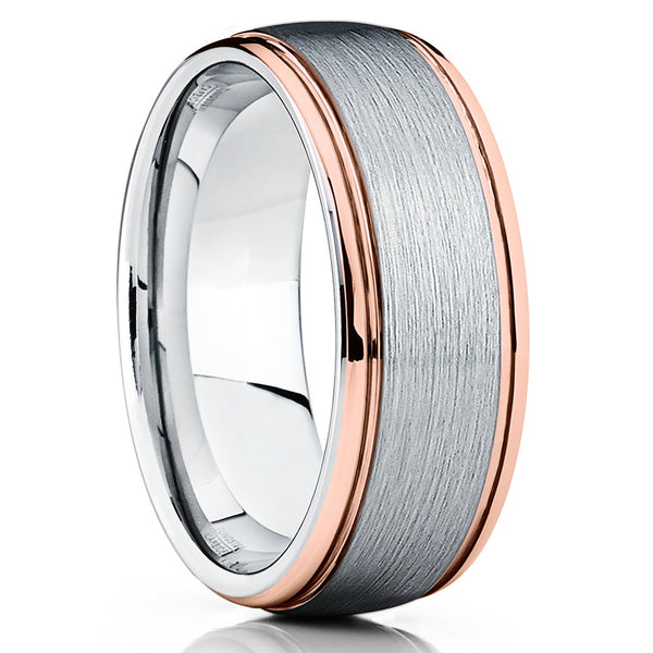 Gray Tungsten Wedding Band - Gray Tungsten Ring - Rose Gold Tungsten - Clean Casting Jewelry